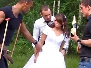 Russian bride enjoys an interracial gang-bang out like a light