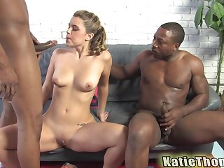 Cute blonde babe Katie Thomas double penetrated by black dudes