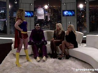 MILF sluts Bridgette B and her friends ride a masked guy's locate