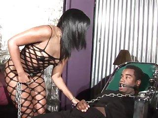 Kinky ebony babe Sydnee Capri swallows a huge load after a ballpark fuck