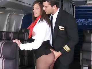 In check seduced stewardess to roger in airplane