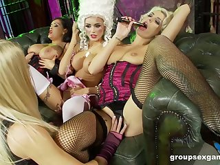 Hardcore costumed role play lesbian orgy with Cindy Behr
