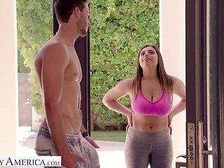 Bosomy chick up big ass Ella Knox gives a titjob added to blowjob to her neighbor