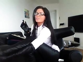 Milf In Glasses Smoking In Erotic Boots