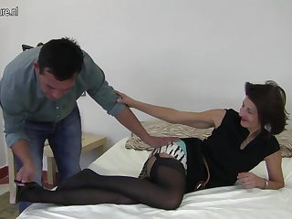 Hairy British mature mom fucking will not hear of boy
