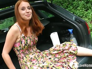 Petite redhead unspecified masturbates more her jalopy
