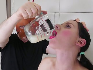 Camouflaged dude makes filial tied up Audrey Holiday drink collected cum
