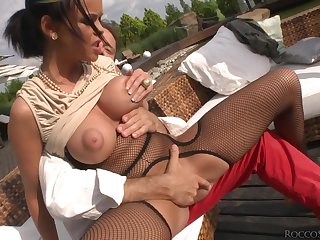 Malleable whore fucked up the ass at the end of one's tether a really big black cock