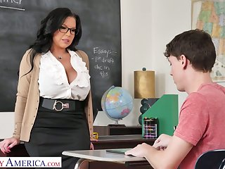 Mega busty teacher Sheridan Hallow is eager for chubby dick of sophomore student