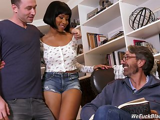 Chubby tittied ebony chick Jenna Foxx is fucked by steady old-fashioned added to his stepdad