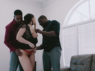 Two heavy dark-skinned dicks tunnel pussy and anus of white girlfriend Whitney Wright