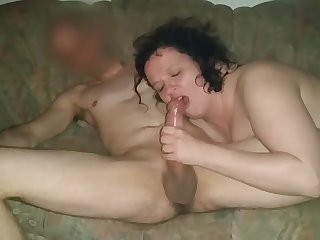She blows and sucks the big cock of her fuck buddy