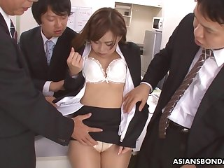 Japanese copyist Yuno Shirasuna is fucked by several co-workers