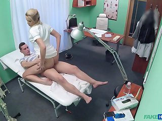 Blonde nurse gets taped in cease operations when riding a patient's dick
