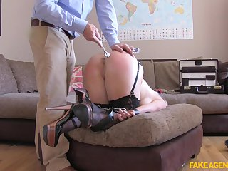 Dirty blonde slut Rebecca penetrated nearby a dildo and a dick