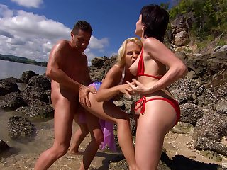 Of the first water nude sex by the beach with two MILFs and a counter man