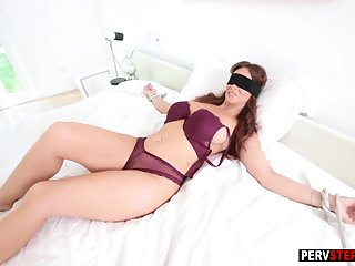 Affianced blindfolded MILF sucked a bad stepsons cock