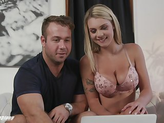 Blonde wife Gabbie Carter with nide tits sucks a dick and rides him