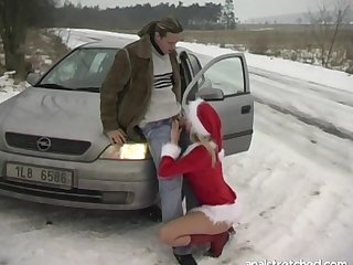 Hardcore fucking on the car at near winter with blonde Jane Sweetheart