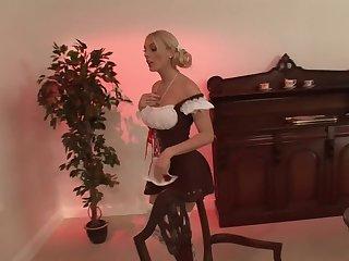 Blonde model Stacey Saran in miniskirt moans during fucking