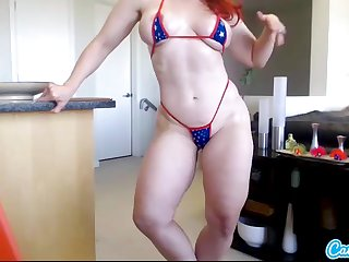 Andrea Rosu muscled pornstar redhead tot shakes her boodle added to oils up her big tits regarding webcam solo