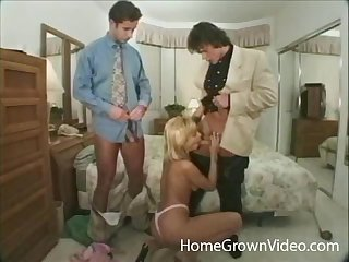 Blonde wife fucked everywhere all holes and parrot penetrated on the bed