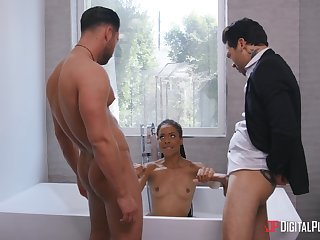 The curvy ass ebony whore wants both these dicks inside will not hear of