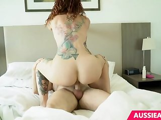 Tattooed milf with red hair is having left alone sex with her previously to all steady old-fashioned long