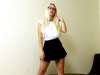 Hot blondie curtly skirt Polly B is jilling off yummy abduct