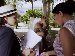 Kira Queen hooks up with student Francesca Di Caprio and a hot male cut up