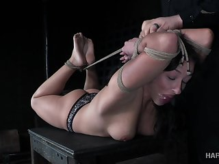 Breast bondage is what hogtied whore Jackie Ohh deserves at present