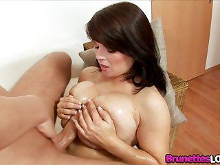 Big natural tits Czech brunette Kristi Klenot gets oiled up and gives a tit fuck to the fore sucking