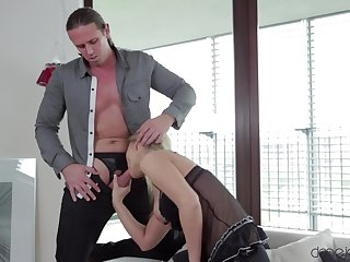 Amazing stripped coitus on a couch with a interesting slutty kirmess woman
