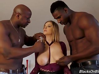 2 nasty, ebony men are having a load during a lickerish threeway all over a huge-boobed, Caucasian crumpet