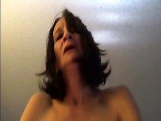 Skinny elderly lassie riding to orgasms POV