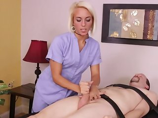 Chiropractor gives special manual cock-massage to the client