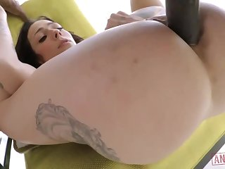 Cool milky brown-haired with giant, firm jugs, Harlow Harrison had assfuck fuck-a-thon with a dark-hued boy