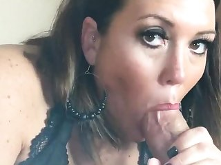 Cumshot wanting amateur MILF wanks cock with reference to POV pic